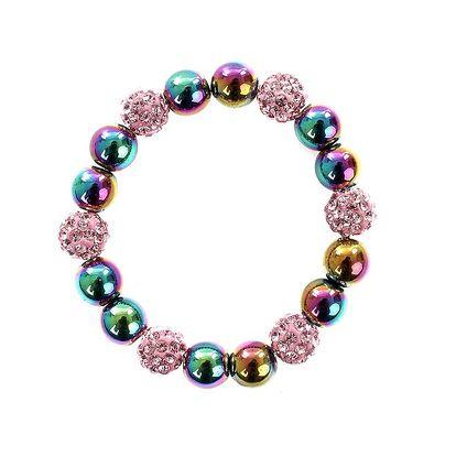 Dámský náramek s duhovými perlami Swarovski a růžovými kamínky Royal Adamas