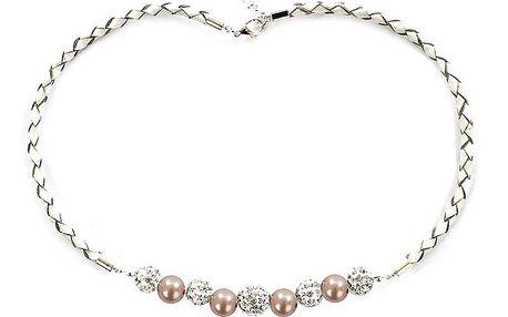 Dámský náhrdelník s broskvově růžovými perlami Swarovski Royal Adamas