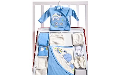 Modrý velký set pro novorozence s želvičkou