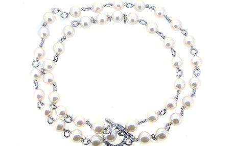 Krátký stříbrný náhrdelník s perličkami