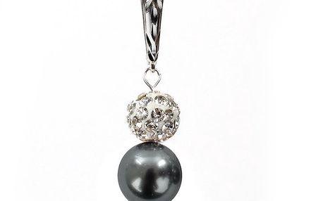 Dámské náušnice s šedostříbrnou perlou Swarovski a stříbrným zapínáním Royal Adamas