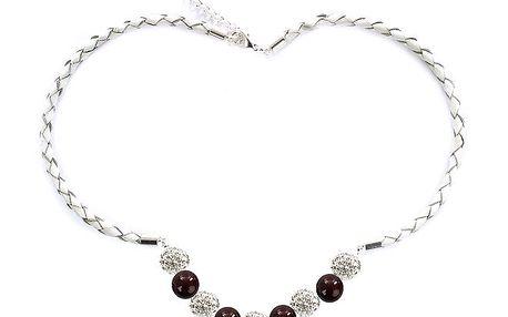 Dámský náhrdelník s hnědočervenými perlami Swarovski Royal Adamas