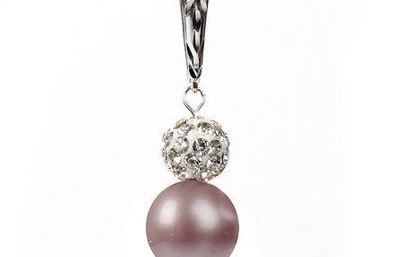 Dámské náušnice s růžovou perlou Swarovski a stříbrným zapínáním Royal Adamas