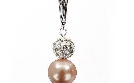 Dámské náušnice s broskvově růžovou perlou Swarovski a stříbrným zapínáním Royal Adamas