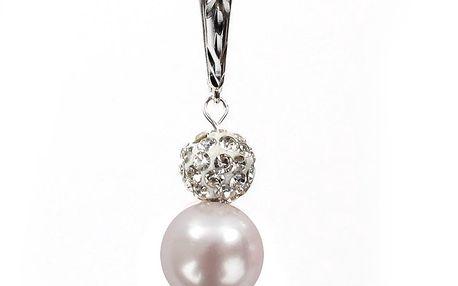 Dámské náušnice se světle růžovou perlou Swarovski a stříbrným zapínáním Royal Adamas