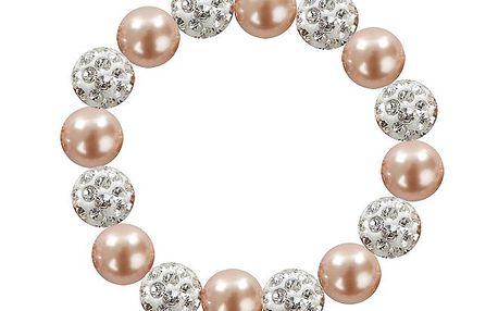 Dámský náramek s broskvově růžovými perlami Swarovski Royal Adamas