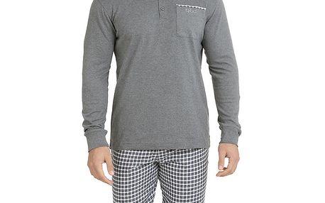 Pánské pyžamo - šedé triko a kostkované kalhoty QBO