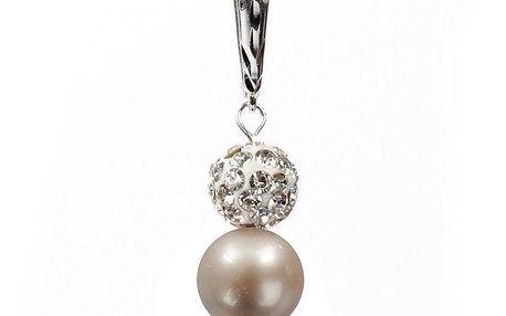 Dámské náušnice s oranžovorůžovou perlou Swarovski a stříbrným zapínáním Royal Adamas