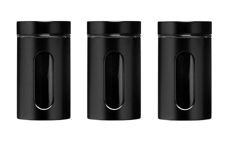 Černé dózy se sklem (3ks)