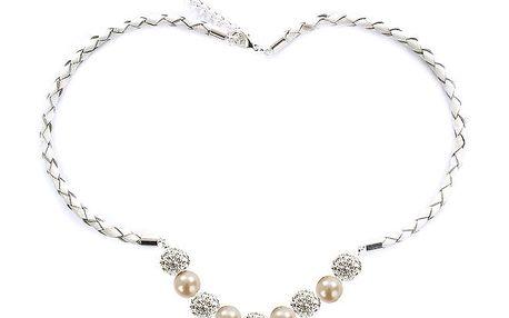 Dámský náhrdelník s lososově růžovými perlami Swarovski Royal Adamas
