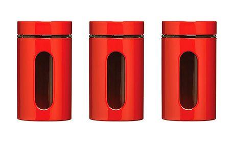Červené dózy se sklem (3ks)