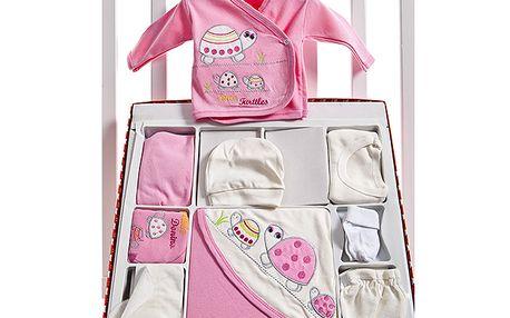 Růžový velký set pro novorozence s želvičkou
