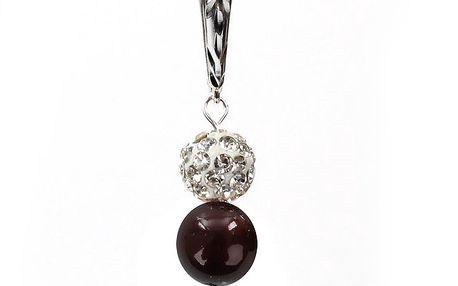 Dámské náušnice s hnědočervenou perlou Swarovski a stříbrným zapínáním Royal Adamas