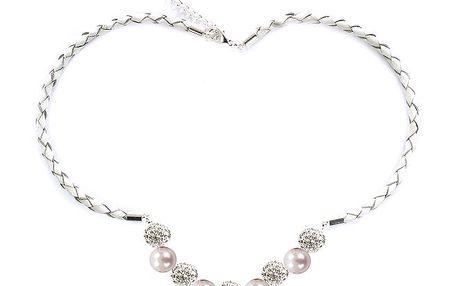 Dámský náhrdelník se světle růžovými perlami Swarovski Royal Adamas
