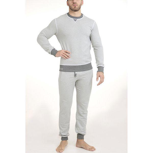 Pánské světle šedé pyžamo - triko a kalhoty QBO