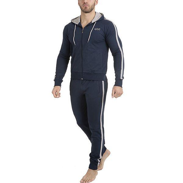 Pánské tmavě modré pyžamo - mikina a kalhoty QBO