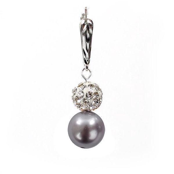 Dámské náušnice s fialovou perlou Swarovski a stříbrným zapínáním Royal Adamas