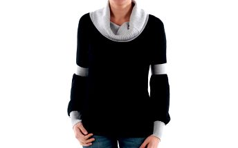 Originální černý svetr s kontrastním rolákem Amy Gee
