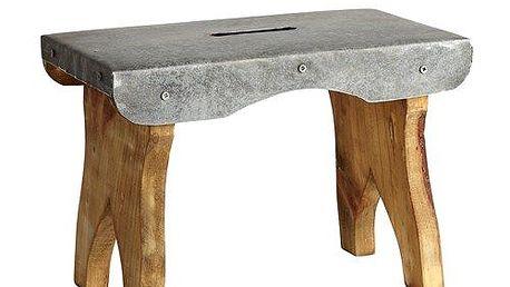 Dřevěná pozinkovaná mini stolička