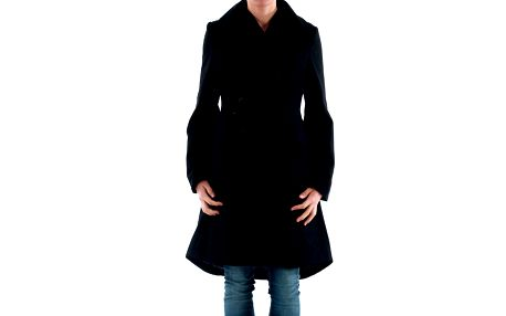 Dámský černý kabát s knoflíkovým zapínáním Amy Gee