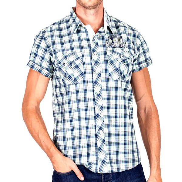 Pánská zelenomodře kostkovaná košile s krátkým rukávem Galvanni