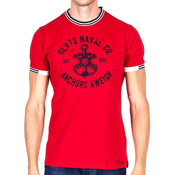 Pánské červené tričko s pruhovanými lemy Galvanni