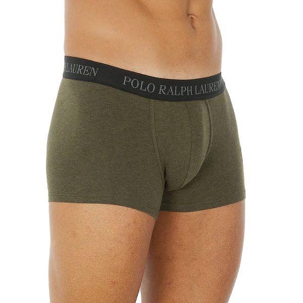 Pánské olivově zelené bavlněné boxerky Ralph Lauren