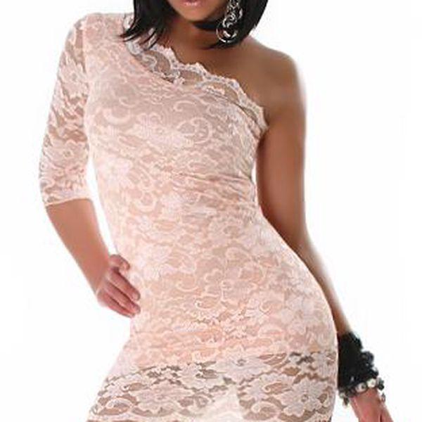 Světle růžový krajkový top na jedno rameno a poštovné ZDARMA! - 3507614