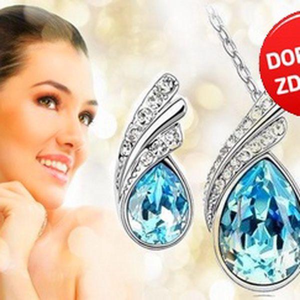 Krásný set náušnic a náhrdelníku s krystaly Swarovski Elements - na výběr atraktivní modrá nebo červená varianta. Buďte elagantní s luxusní slevou 75% a poštovným zdarma!