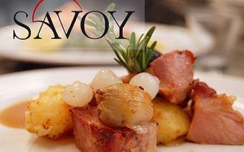Sleva na VEŠKERÁ JÍDLA ve vyhlášené restauraci SAVOY v samém centru Brna na Jakubském nám.! Ochutnejte výborné steaky, saláty, předkrmy, polévky a domácí dezerty!