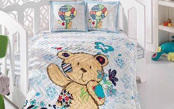 Set s prošívanou přikrývkou medvídek - modrý