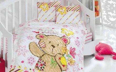 Set s prošívanou přikrývkou medvídek - růžový