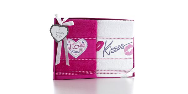 Sada 2 osušek Kiss, 50x90 cm
