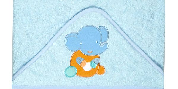 Dárkové balení modrého maxi ručníku 100x100 cm se slonem