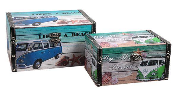 Set úložných truhel s motivem pláže