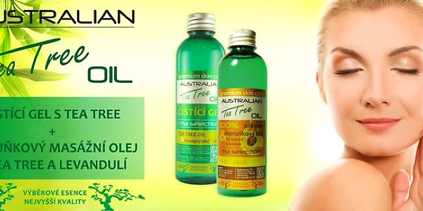 Čistící gel s Tea Tree + Meruňkový masážní olej proti akné - 100 ml + 100 ml
