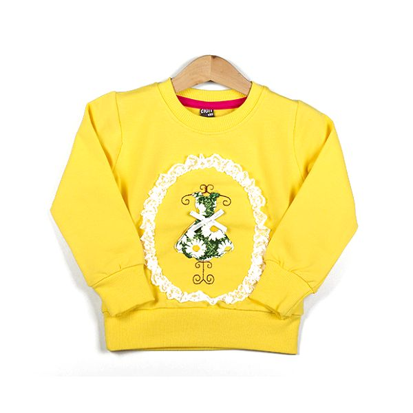 Žlutá mikina s obrázkem šatů
