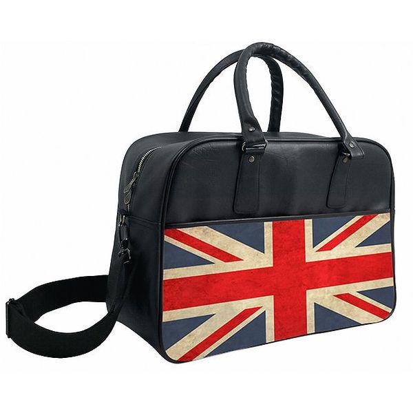 Černá sportovní taška přes rameno s britskou vlajkou Kothai