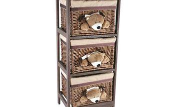Dřevěná skříňka s ratanovými košíky