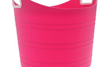 Plastový flexibilní koš s držadly růžový (19 l)
