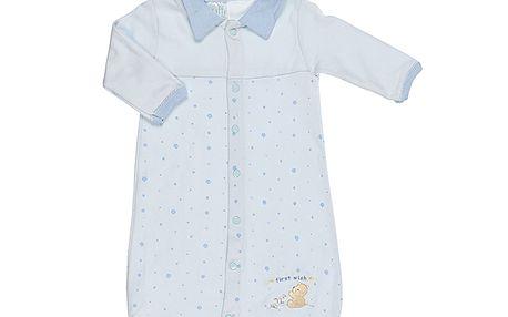 Modrý set spacího fusaku s rukávy a bryndáčku 0-6 měsíců