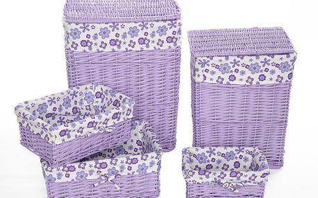Set úložných košů fialový (5 ks)