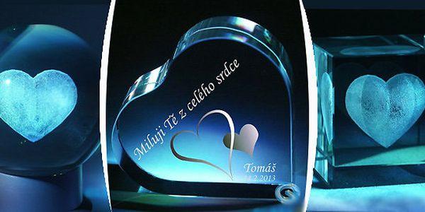 Srdíčko ze skla - jedinečný dárek ze skleněného křišťálu pro milovanou osobu.