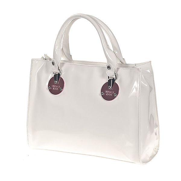 Dámská bílá lesklá kabelka s kovovými kolečky Versace Jeans
