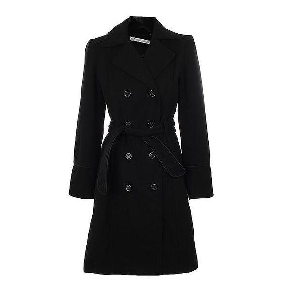 Dámský černý dvouřadý kabát s páskem Gémo