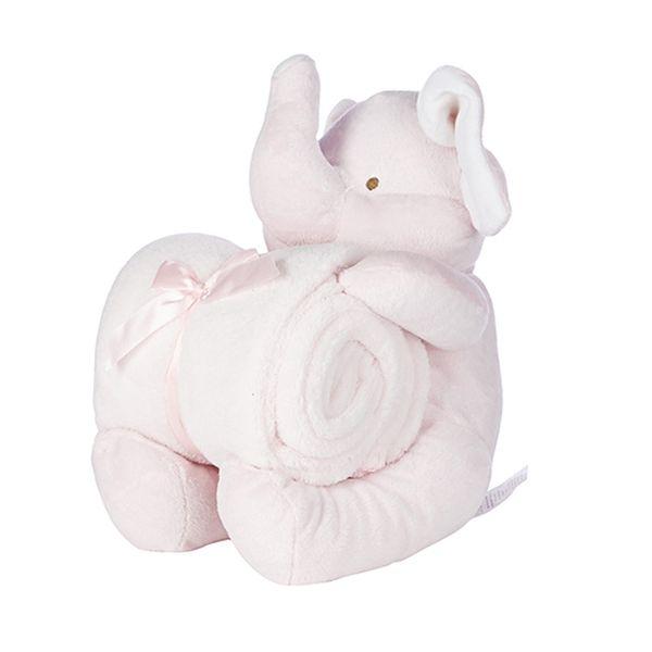 Dárkové balení růžový sloník a deka 90x75 cm