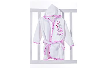 Dětský župánek 0-3 roky - bílá/růžová