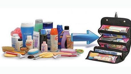 Elegantní cestovní kosmetická taška v černé barvě, díky kterým budete mít všechny hygienické přípravky a nástroje uloženy na jednom místě.