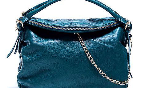 Dámská kožená modrá kabelka s řetízkem Renata Corsi