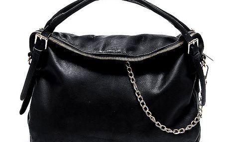 Dámská kožená černá kabelka s řetízkem Renata Corsi